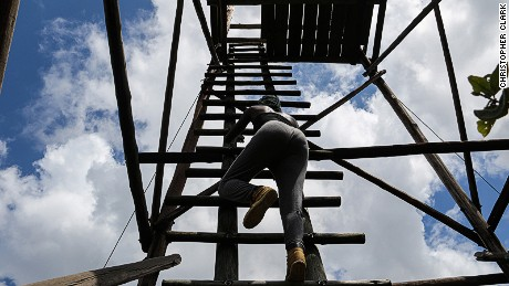 Climbing Nylsvley's lookout tower.