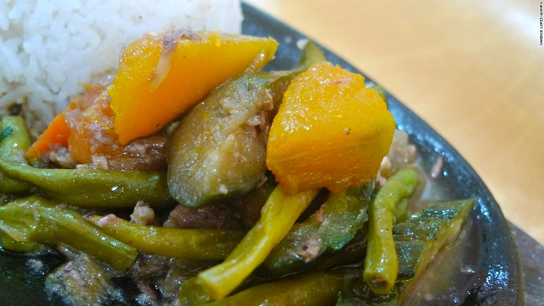 This medley of okra, eggplant, bitter gourd, squash, tomatoes and bagoong (shrimp or fish paste) is a healthy and easy-to-make dish.