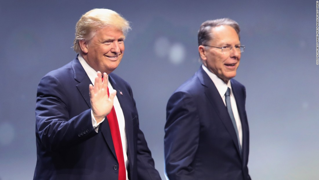 """Republican presidential candidate Donald Trump is introduced with Wayne LaPierre, executive vice president of the National Rifle Association, at the NRA national convention on Friday, May 20, in Louisville, Kentucky.  <a href=""""http://www.cnn.com/2016/05/20/politics/donald-trump-national-rifle-association/index.html"""" target=""""_blank"""">Trump presented himself as a fierce defender of the Second Amendment </a>and attacked Hillary Clinton's stance on gun control. """"If she gets to appoint her judges, she will abolish the Second Amendment,"""" Trump told an enthusiastic crowd. """"In my opinion, that's what she's going to go for."""""""