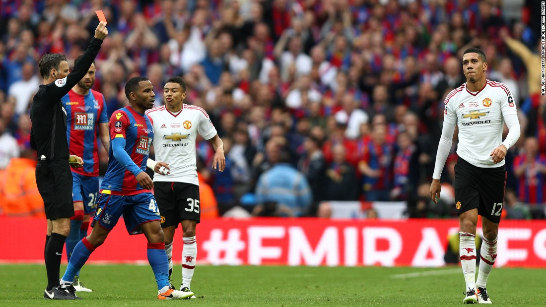 The game seemed to turn in Palace's favor as Chris Smalling received a second yellow card and his marching orders in extra time.