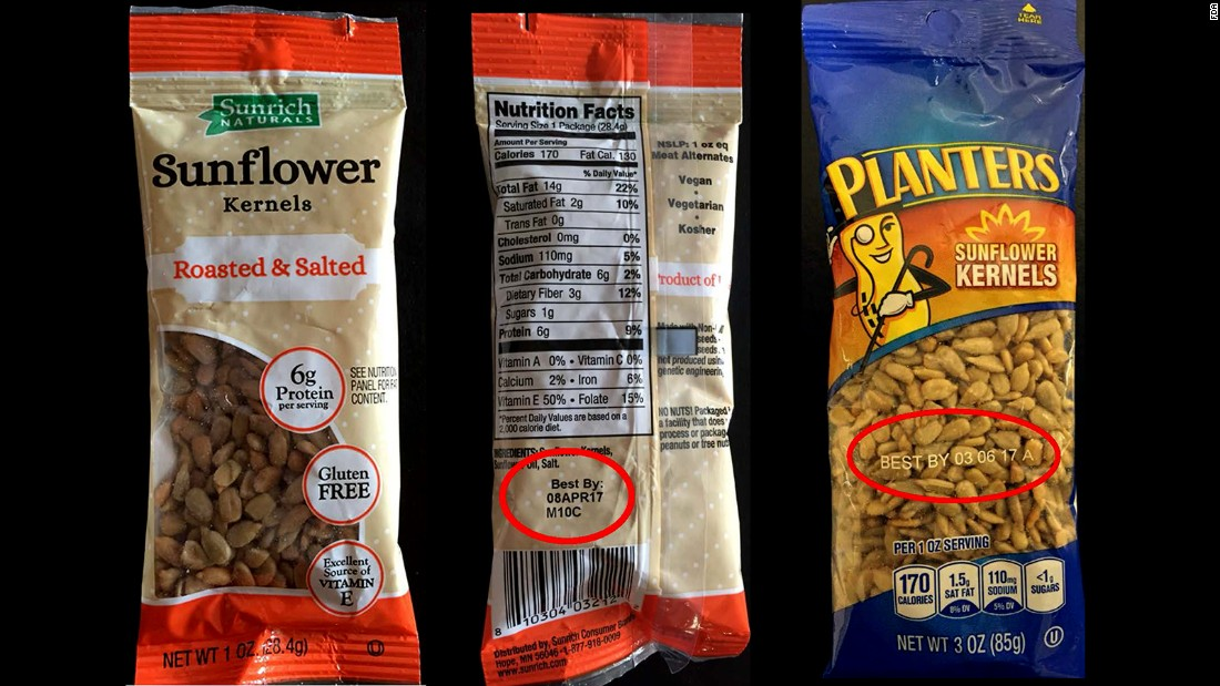 Products containing sunflower seeds produced by SunOpta are under a voluntary recall in at least 24 states over concerns about possible listeria contamination.The recall affects Planters and Sunrich Naturals sunflower kernels made between the dates of February 1 and April 21, the U.S. Food and Drug Administration said.