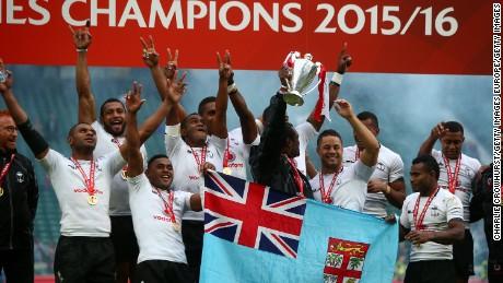 Fiji players celebrate their Sevens World Series success at Twickenham.