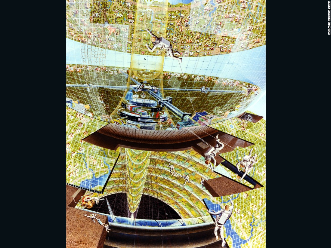 Davis depicts a construction crew piecing together a Bernal Sphere complete with houses, grass and rivers, seemingly unscathed by the vacuum of space.