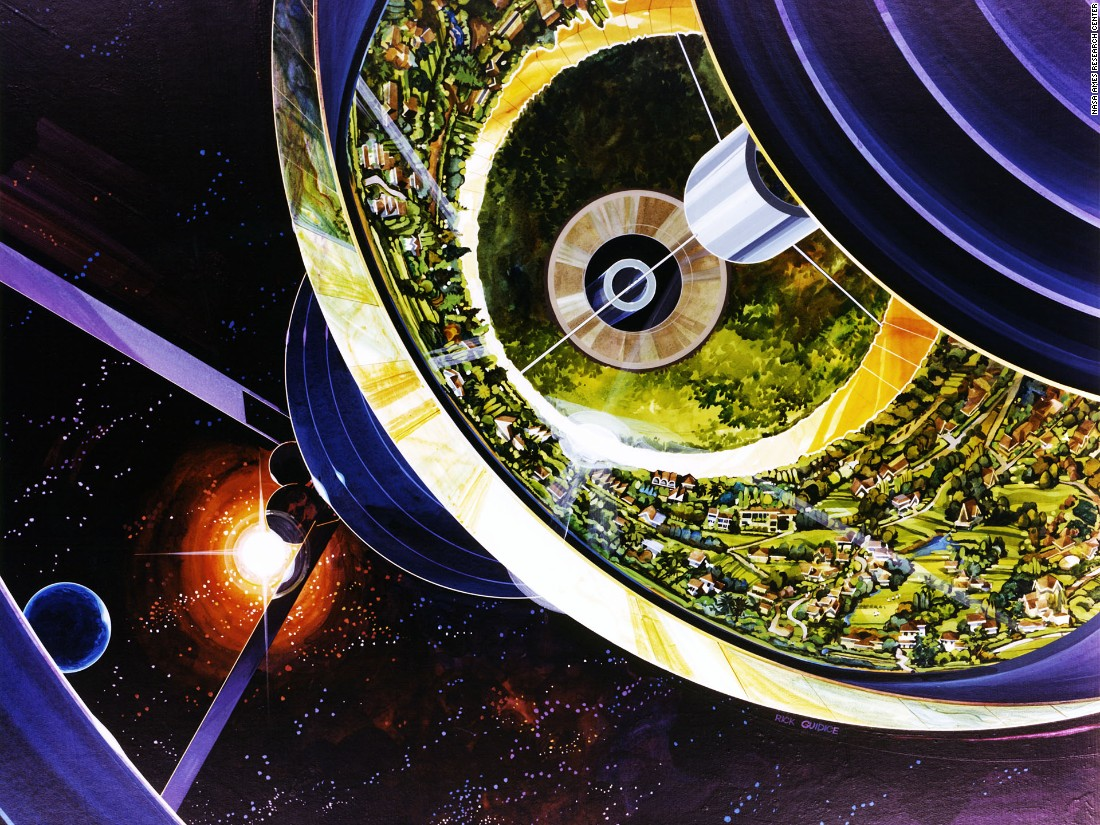 Rick Guidice's painting of a cutaway of the Bernal Sphere also shows some of the huge solar arrays required to power the station and its rotation.