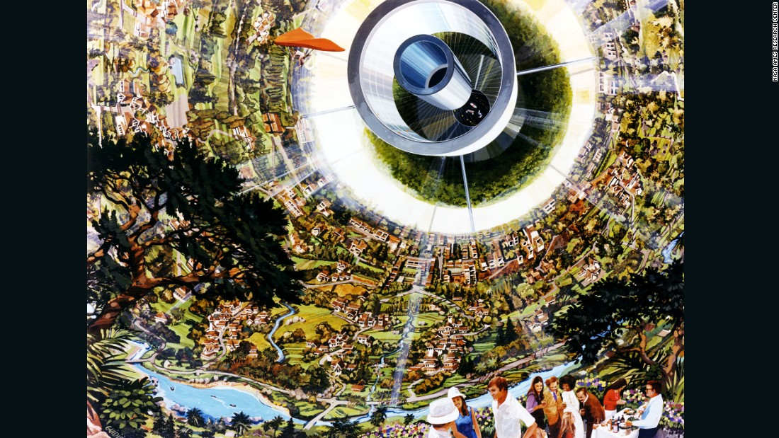 "The Bernal Sphere was first proposed by John Desmond Bernal as far back as 1929, with O'Neill's team adapting the half-century old idea. Here, Guidice imagines a colorful, highly-curved living surface that featured a ""crystal palace"" for agriculture and light reflected in via windows near the poles."