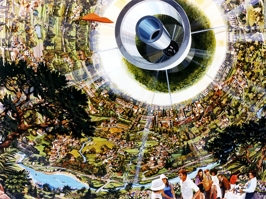 """The Bernal Sphere was first proposed by John Desmond Bernal as far back as 1929, with O'Neill's team adapting the half-century old idea. Shrunk down to 500 meters wide they proposed a highly-curved living surface that featured a """"crystal palace"""" for agriculture and light reflected in via windows near the poles."""