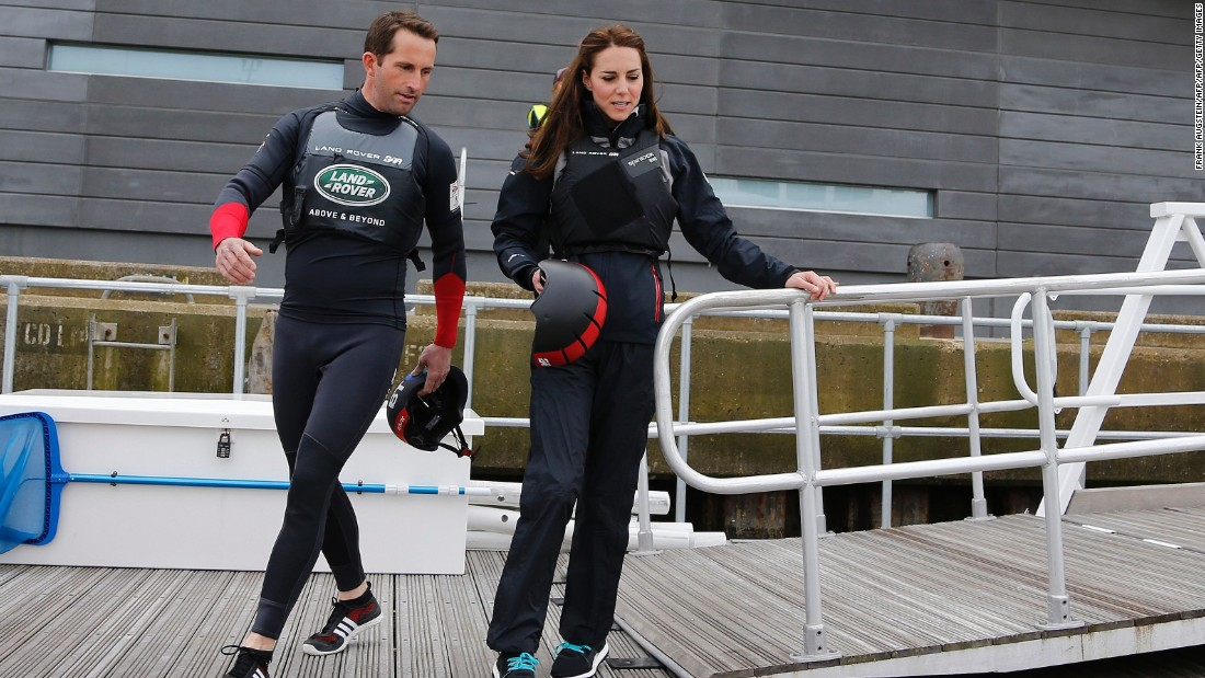 The Duchess then strapped herself in for a ride on Ainslie's 45-foot catamaran. <br />