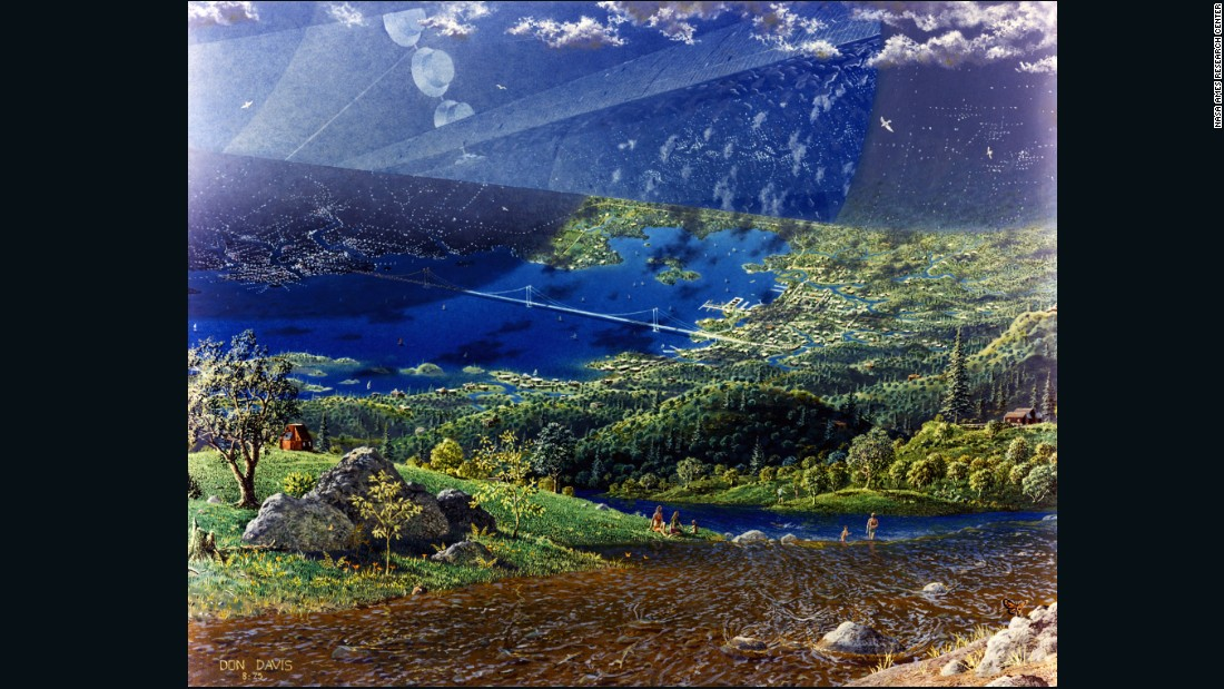 Despite the futuristic technology required to put such a massive structure in space, all of the artwork from Guidice and Davis -- including this image by Davis -- shows lush green landscapes -- a far cry from the reality of the International Space Station today.