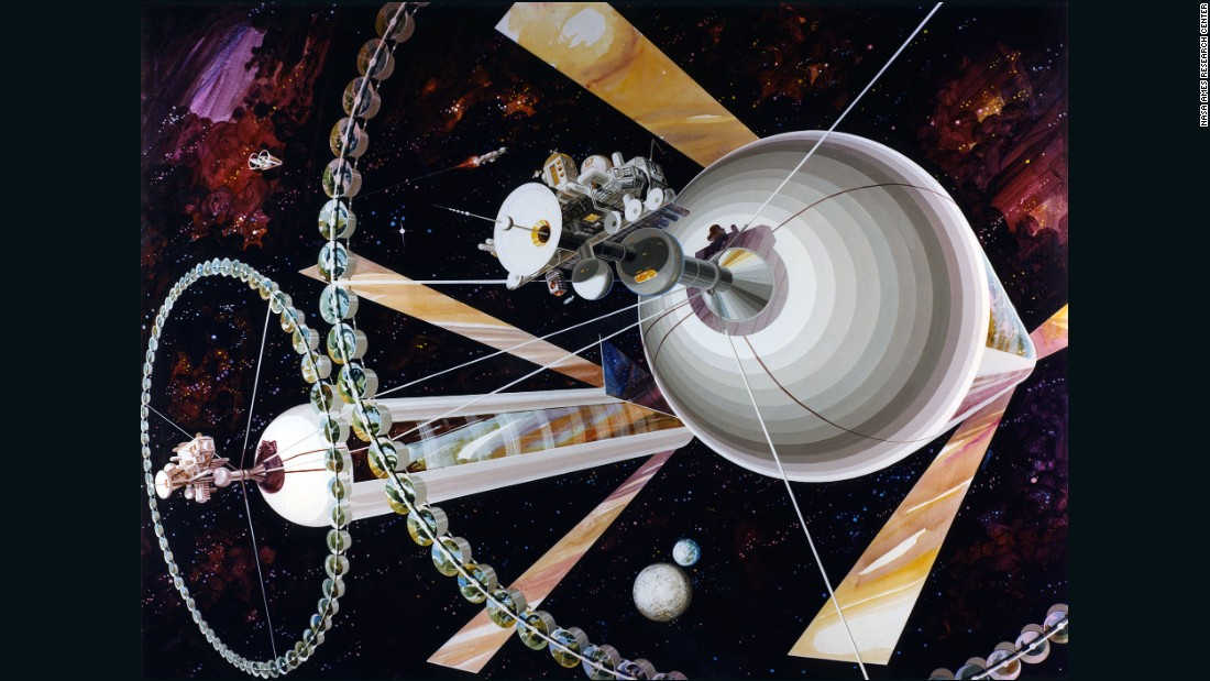 The Cylindrical Colony was never envisaged as a solitary structure, instead orbiting with a partner -- as demonstrated by Guidice's painting.