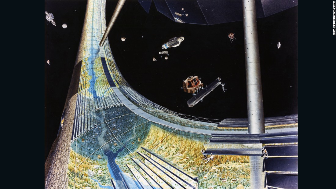 In a paper presented to NASA, O'Neill uses 1990 as a hypothetical start date for a space colony, with the team drawing up a number of potential costs for construction and transportation -- even the volume of livestock each station would need to ship in. Here, Davis depicts how this could work.