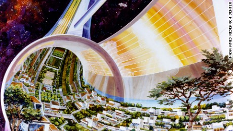 Toroidal Colonies Population: 10,000 Cutaway view, exposing the interior. Art work: Rick Guidice.
