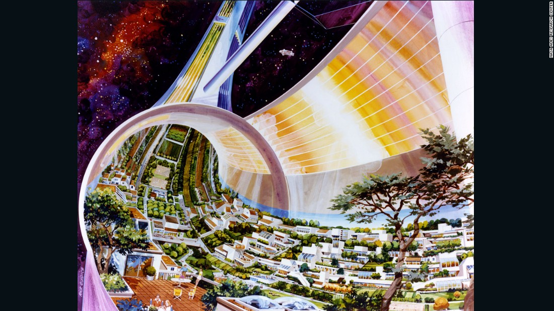 In 1975 a research group led by Princeton professor Gerard O'Neill conducted a 10 week study of future space colonies. Acclaimed space artists Rick Guidice and Don Davis were commissioned to illustrate the fantastical and as yet unrealized concepts.