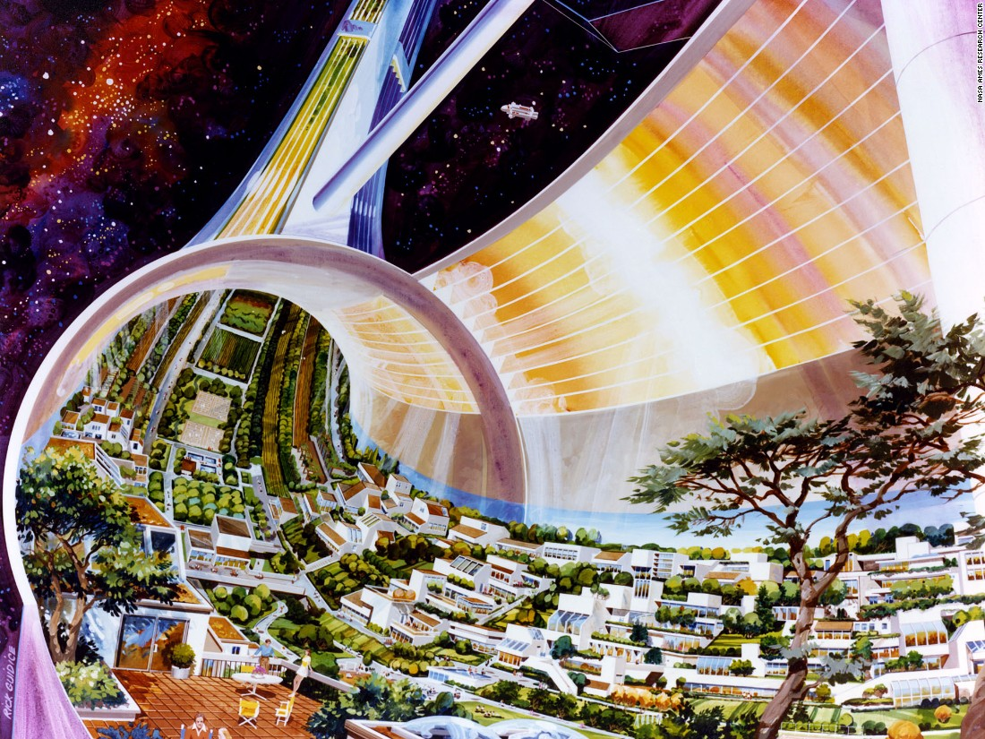 In 1975 a research group led by Princeton professor Gerard O'Neill conducted a 10 week study of future space colonies. The NASA-sponsored research and the paper born of it was given to artists Rick Guidice and Don Davis, commissioned to illustrate the fantastical and as yet unrealized concepts.