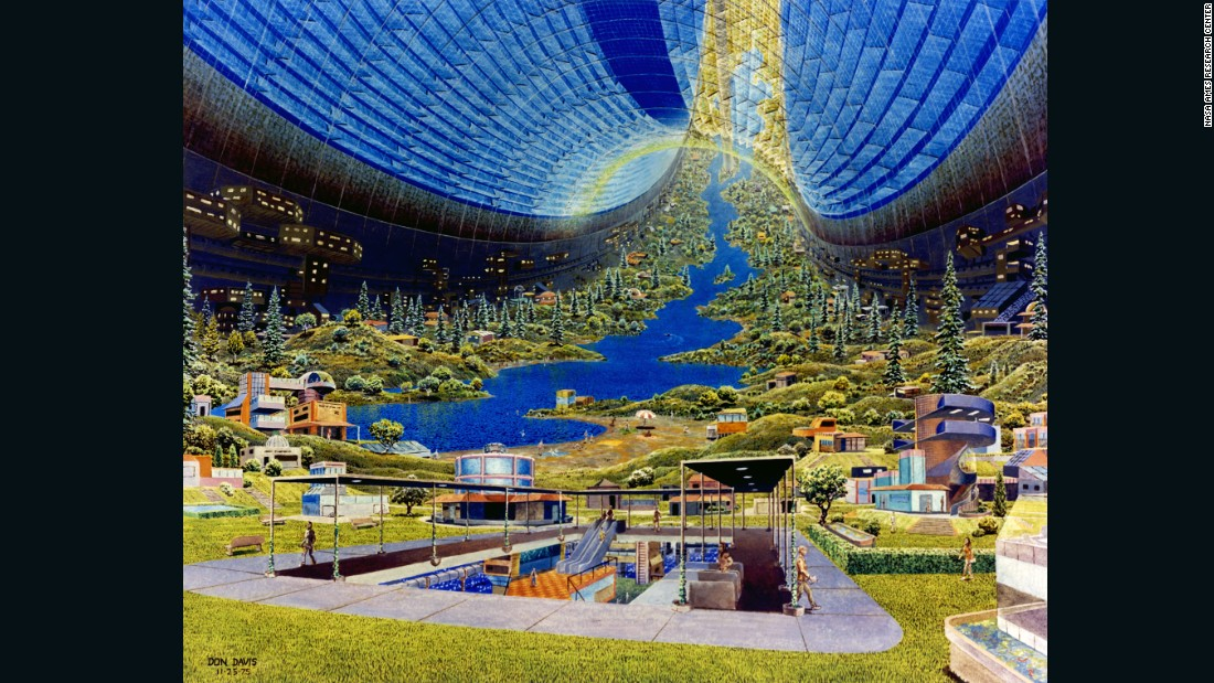 O'Neill's team settled on three potential designs for the future space stations: the Bernal Sphere, the Toroidal Colony (here imagined by Davis) and the Cylindrical Colony. Potential capacity ranged from 10,000 people to one million, and featured circular designs which rotated to generate artificial gravity.
