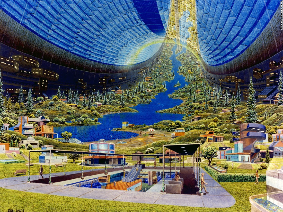 "These images were created from a 1975 research study of future space colonies led by Princeton professor Gerard O'Neill. The NASA-sponsored paper born of it was given to artists Rick Guidice and Don Davis, who illustrated the fantastical and as yet unrealized concepts. More on that story <a href=""http://www.cnn.com/2016/05/29/architecture/nasa-ames-oneill-space-colonies-1975/"" target=""_blank"">here</a>."