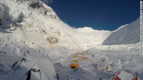 This photograph taken on May 8, 2016, shows a view of mountaineering equipment at Camp 2 on Mount Everest.