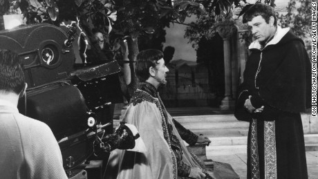 "Richard Burton playing Thomas Becket opposite John Gielgud as Louis VII of France in the 1964 movie ""Becket."""