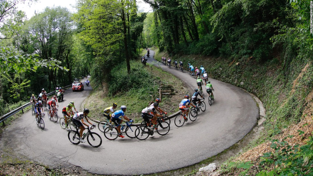 Riders compete during the 13th stage of the 99th Giro d'Italia, Tour of Italy, on May 20, from Palmanova and Cividale del Friuli.