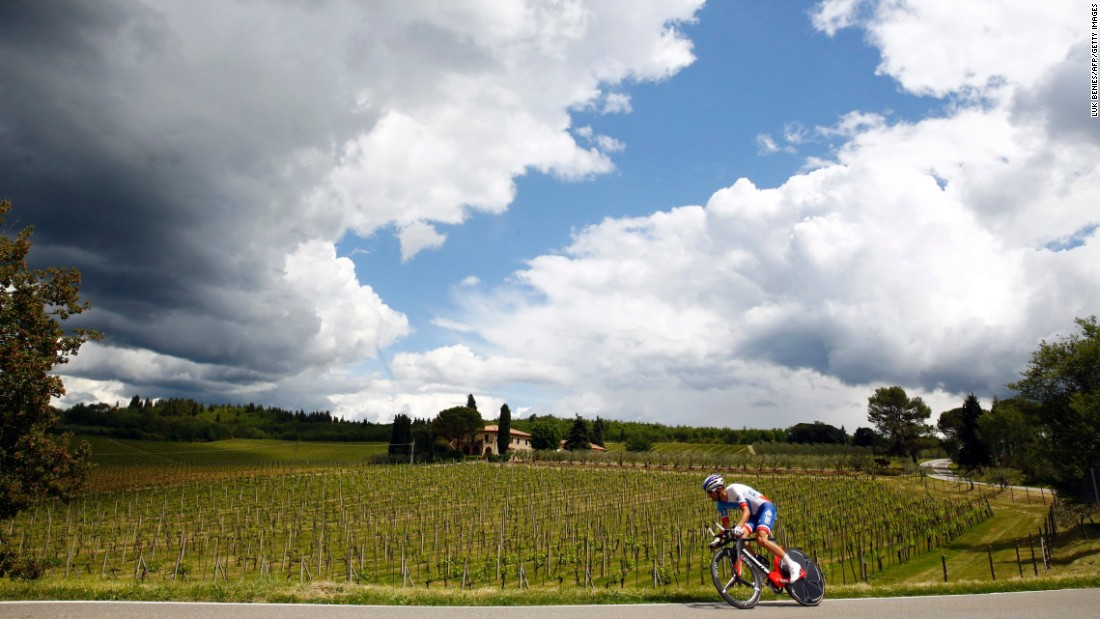 French cyclist Benoit Vaugrenard of FDJ team cycles during the 9th individual time trial stage of 99th Giro d'Italia, Tour of Italy, from Radda in Chianti to Greve in Chianti of 40,5 km on May 15, in Greve in Chianti.