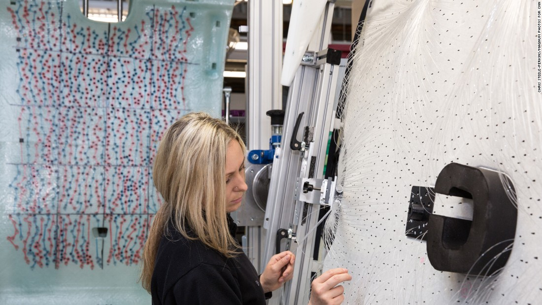 Each headliner includes 1,340 fiber optic lights, which must be sewn in and trimmed by hand.