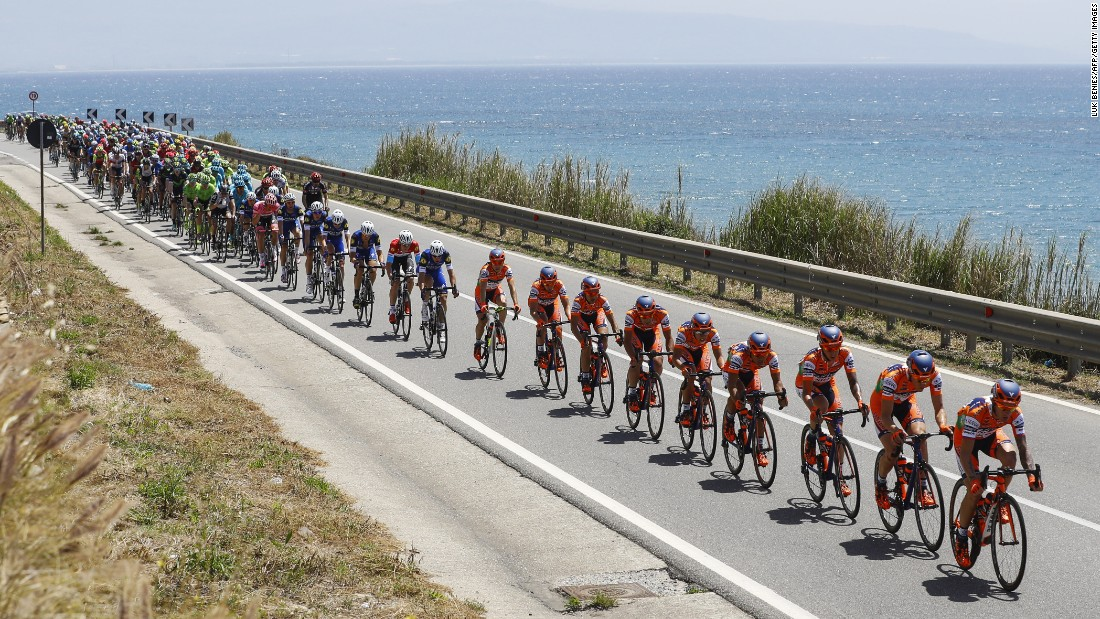 The pack rides during the 4th stage of 99th Giro d'Italia, Tour of Italy, from Catanzaro to Praia a Mare on May 10, in Praia a Mare, Italy.