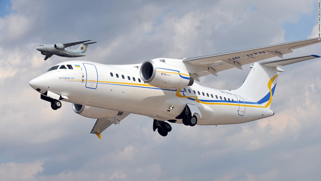 The first Antonov-158 takes off from the plant's aerodrome in Kiev during its first test-flight in April 2010.