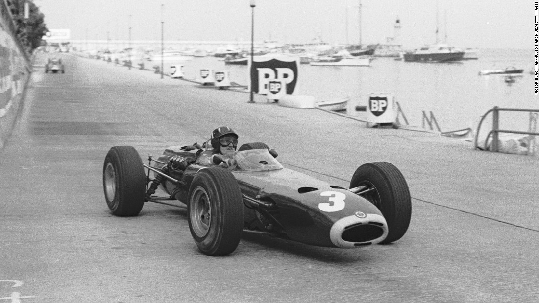 Graham Hill won in Monaco five times during an 18-year F1 career. Here he is racing during the 1965 grand prix where he was crowned champion for the third time despite having to push his car back on track and restart it after taking avoiding action up an escape road.