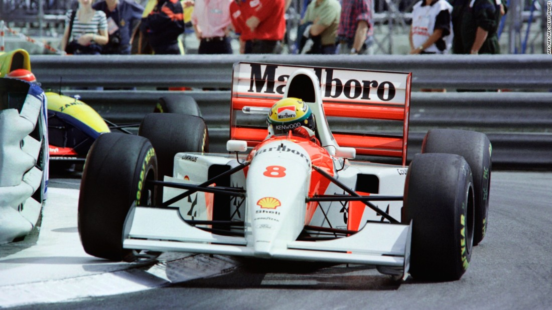 Hill's record of five victories in Monaco lasted more than two decades before being broken by the great Ayrton Senna. The Brazilian can be seen here driving to victory for the sixth and final time in 1993.
