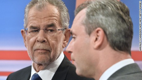 Alexander Van der Bellen, left, and Norbert Hofer are pictured prior to a TV discussion in May.