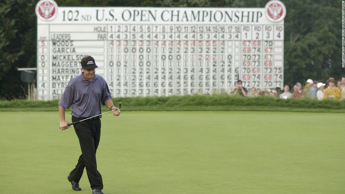 In 2002, the left-hander put up a decent fight in front of a boisterous New York crowd, but with a four-shot deficit going into the final round Mickelson couldn't quite catch Tiger Woods, who won his eighth major by three shots at Bethpage Black on Long Island.