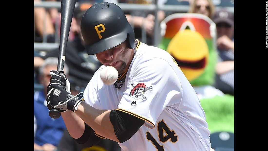 Pittsburgh's Ryan Vogelsong is hit in the face by a pitch during a game against Colorado on Monday, May 23. He was carted off the field and admitted to the hospital with a left eye injury, his team said.