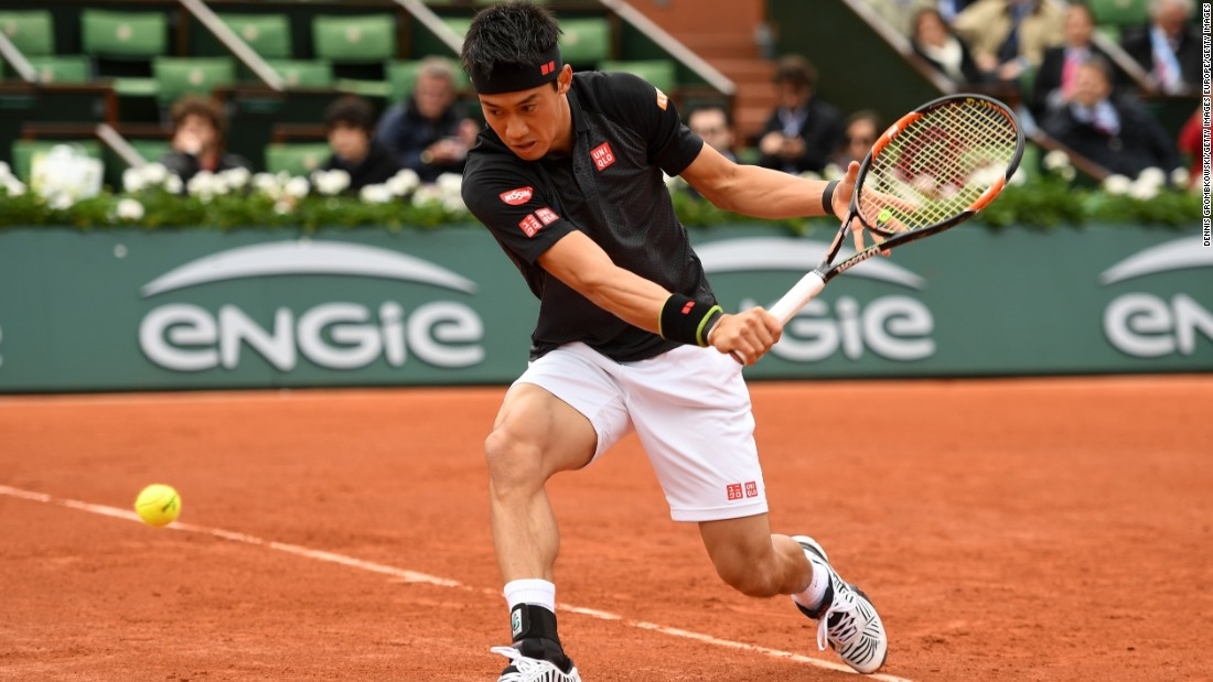 Kei Nishikori, the 2014 U.S. Open finalist who has had a solid clay-court season, completed a 6-1 7-5 6-3 victory over Simone Bolelli.