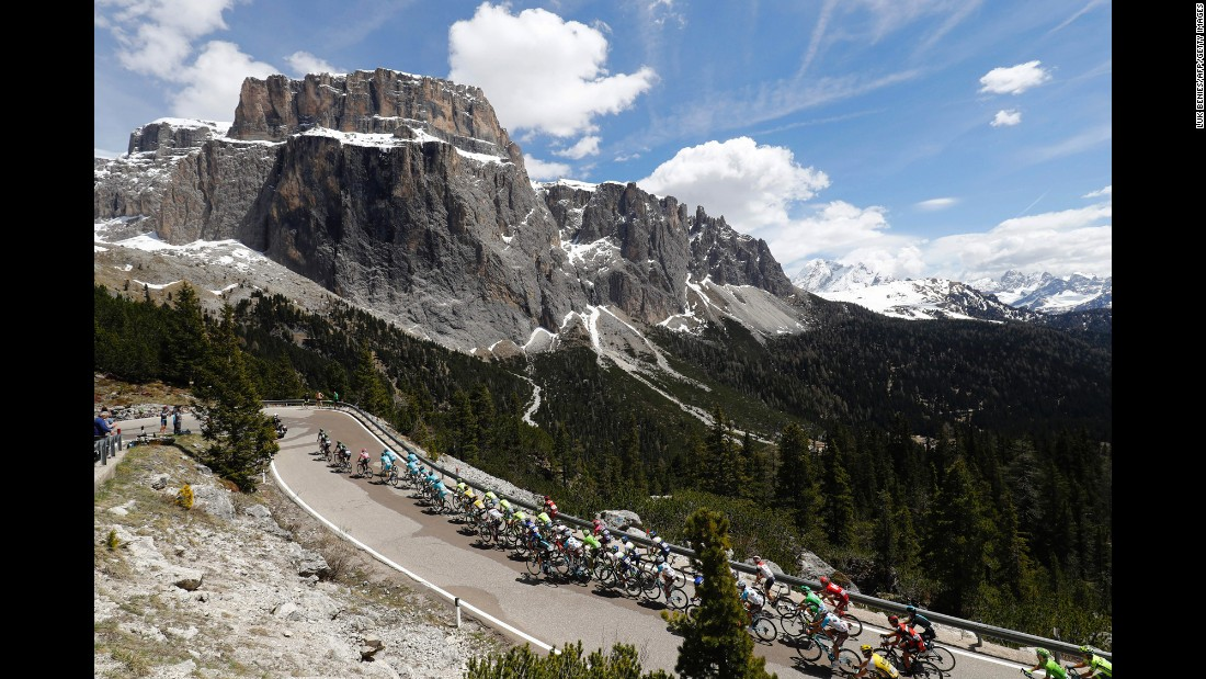 The peloton climbs the Sella Pass during the 14th stage of the Giro d'Italia (Tour of Italy) on Saturday, May 21.
