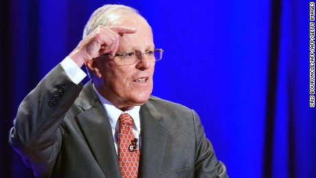 "Peruvian presidential candidate Pedro Pablo Kuczynski of the ""Peruanos por el Kambio"" party makes his final remarks during a televised nation-wide debate against Keiko Fujimori of Fuerza Popular, in the northern city of Piura, 970 kilometers north of Lima on May 22, 2016.  The two candidates, who both offer a center-right political platform and are direct descendants of immigrants in a country with a large indigenous population, will compete in Peru's June 5 runoff election. / AFP / CRIS BOURONCLE        (Photo credit should read CRIS BOURONCLE/AFP/Getty Images)"