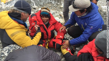 Indian climber Chetana Sahu at the Everest Base Camp after being rescued from near the summit.