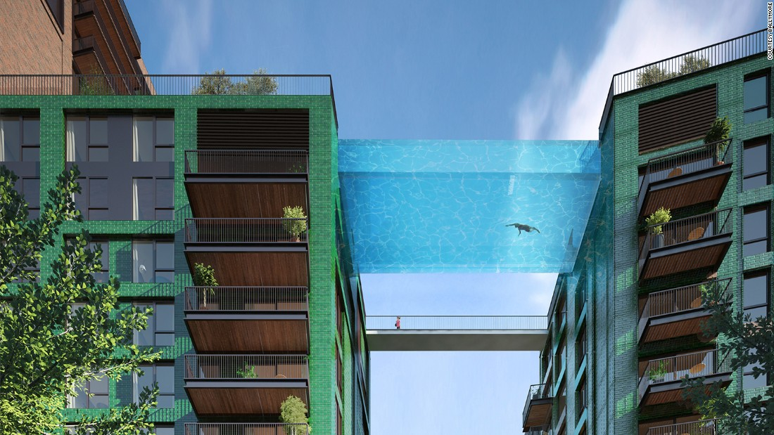 The London Sky Pool is a work in progress by Arup Associates. The aquarium-like swimming pool will be suspended 10-stories high between two buildings.