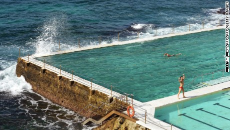 A swimmer complete laps at Bondi's Icebergs, one of country's largest and best-known swimming clubs, boasting 1,000 members, 400-500 of whom compete every weekend in a stunning outdoor ocean pool perched in the cliffside at the southern end of Sydney's most famous beach, on June 10, 2013.  AFP PHOTO/William WEST        (Photo credit should read WILLIAM WEST/AFP/Getty Images)