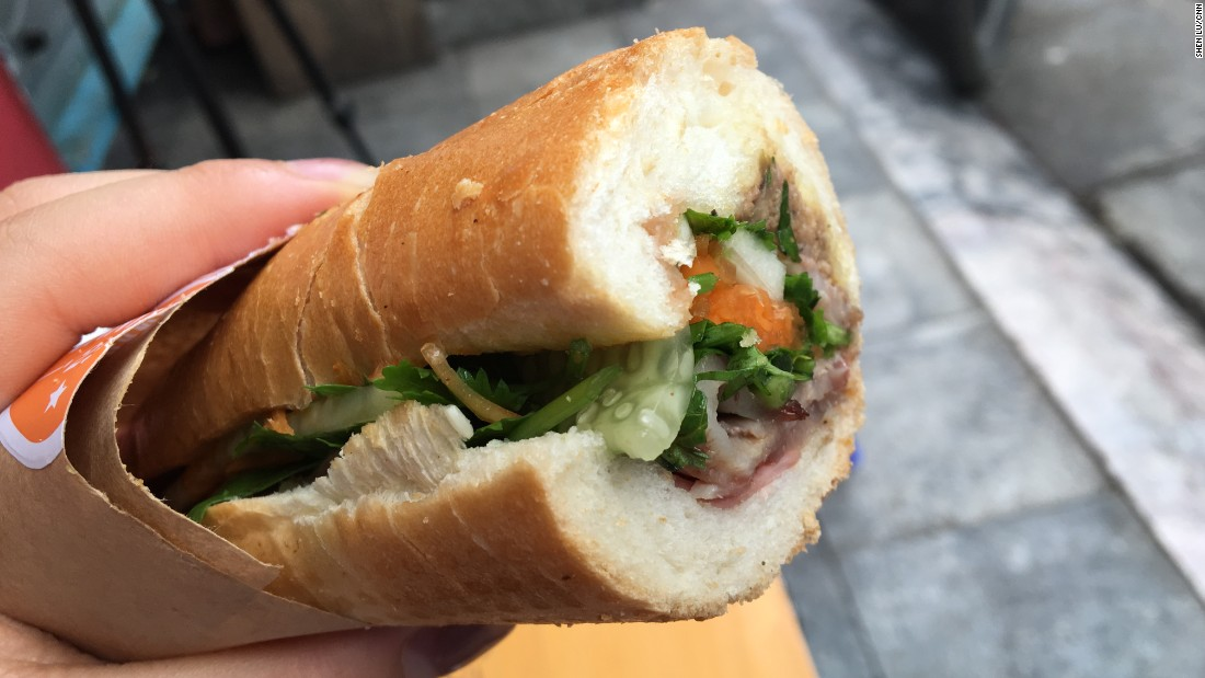 Banh mi is one of Vietnam's most famous exports. Arriving in a crispy, fresh baguette, fillings can include pickled veggies, cilantro, pork, pate, sausage and even cheese.