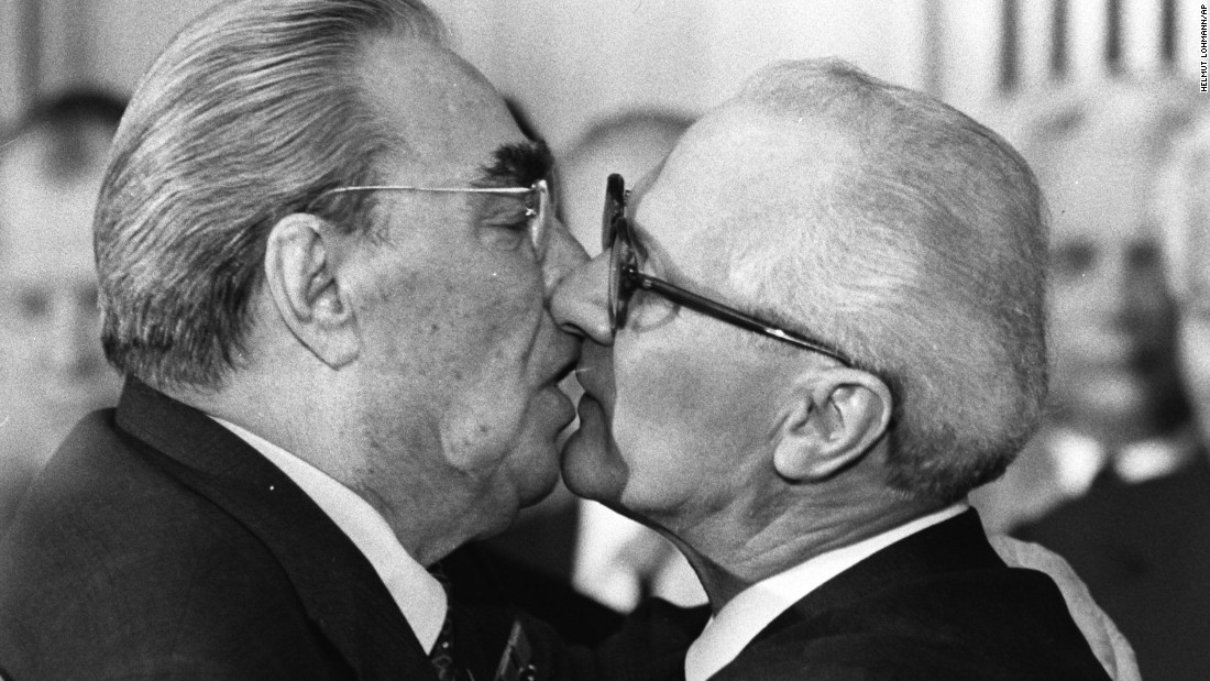 The iconic Berlin Wall mural was a reproduction of this photograph taken in 1979 when Brezhnev and Honecker exchanged kisses during celebrations marking the 30th anniversary of the East German State's foundation.