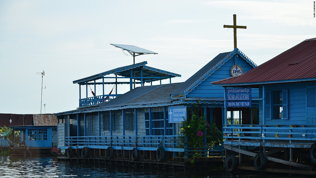 Chong Kneas is a long-standing floating village on the Tonle Sap lake in Cambodia.