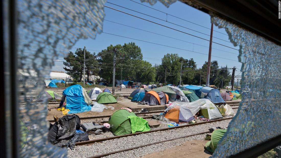 Tents cover rail lines linking Greece and Macedonia at the Idomeni migrant camp, May 23, 2016.