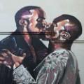 kissing mural kanye west