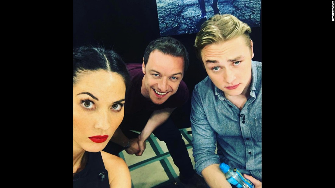 """Eyebrows,"" <a href=""https://www.instagram.com/p/BFLgU9aMmQ1/"" target=""_blank"">said actress Olivia Munn</a> as she posted a selfie to Instagram with her ""X-Men: Apocalypse"" co-stars James McAvoy, center, and Ben Hardy on Monday, May 9."