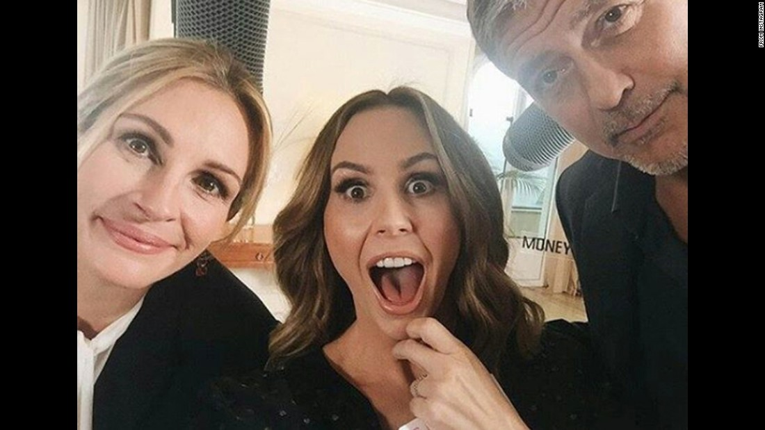 "Television host Keltie Knight, center, gets a selfie with actors George Clooney and Julia Roberts at the Cannes Film Festival on Wednesday, May 11. ""The best selfie of ALL the selfies,"" <a href=""https://www.instagram.com/p/BFRY5EeOCWN/"" target=""_blank"">Knight said on Instagram.</a>"