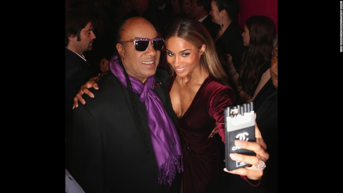 Singers Stevie Wonder and Ciara take a selfie at the Billboard Music Awards on Sunday, May 22.