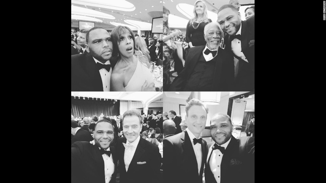 "Actor Anthony Anderson posted <a href=""https://www.instagram.com/p/BE5KvfTjvk8/"" target=""_blank"">a selection of selfies</a> that he took with other celebrities at the White House Correspondents' Dinner on Monday, May 2. Going clockwise from top left are selfies with Gayle King, Morgan Freeman, Tony Goldwyn and Bryan Cranston."