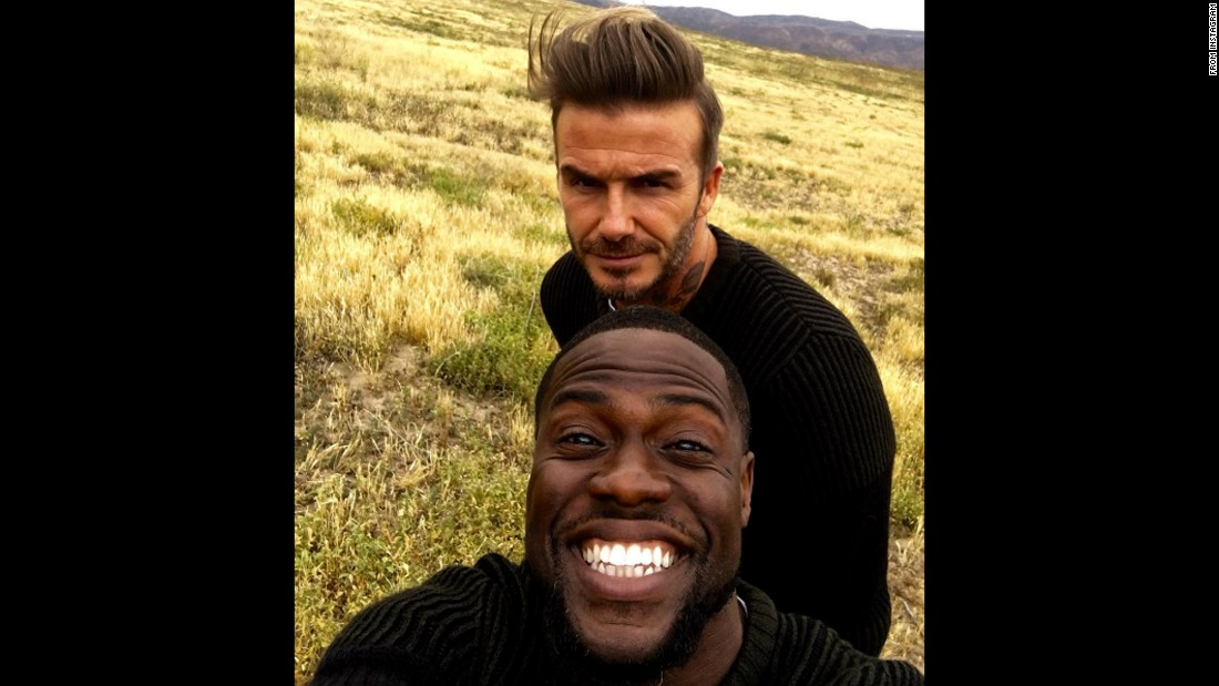 """Back together again,"" said former soccer star David Beckham, top, in <a href=""https://www.instagram.com/p/BFIDUeqTWSz/"" target=""_blank"">this selfie with comedian Kevin Hart</a> on Saturday, May 7. The two have teamed up before for the clothing store H&M."
