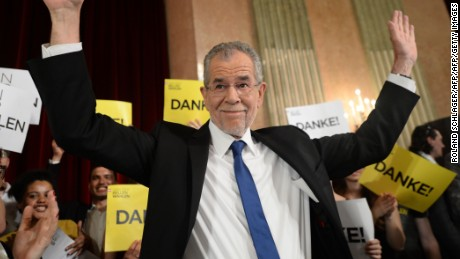 Austrian President-elect Alexander Van der Bellen during an election party after the second round of the Austrian President elections on May 22 in Vienna