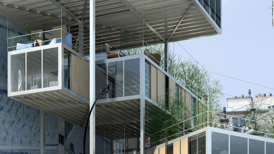 This has made it possible for French architect Stephane Malka to realize a dream of extending the city vertically. The project, called 3BOX, could be a first step towards changing the city's skyline. Modular box-sized flats made of stainless steel and placed in between and on top of standing buildings.