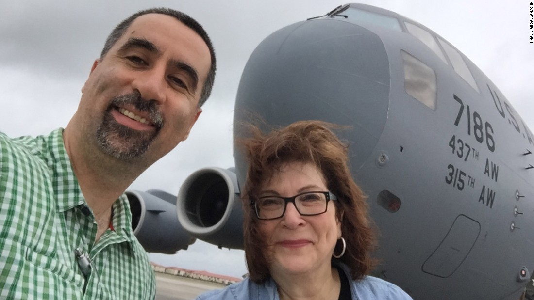 CNN Pentagon Correspondent Barbara Starr and photojournalist Khalil Abdallah take a selfie with a C-17 transport plane before flying from Tampa, Florida, to the Mideast. CNN and a couple other journalists were asked to make this trip by Gen. Joseph Votel, who is overseeing the U.S.-led coalition war against ISIS in Syria and Iraq,